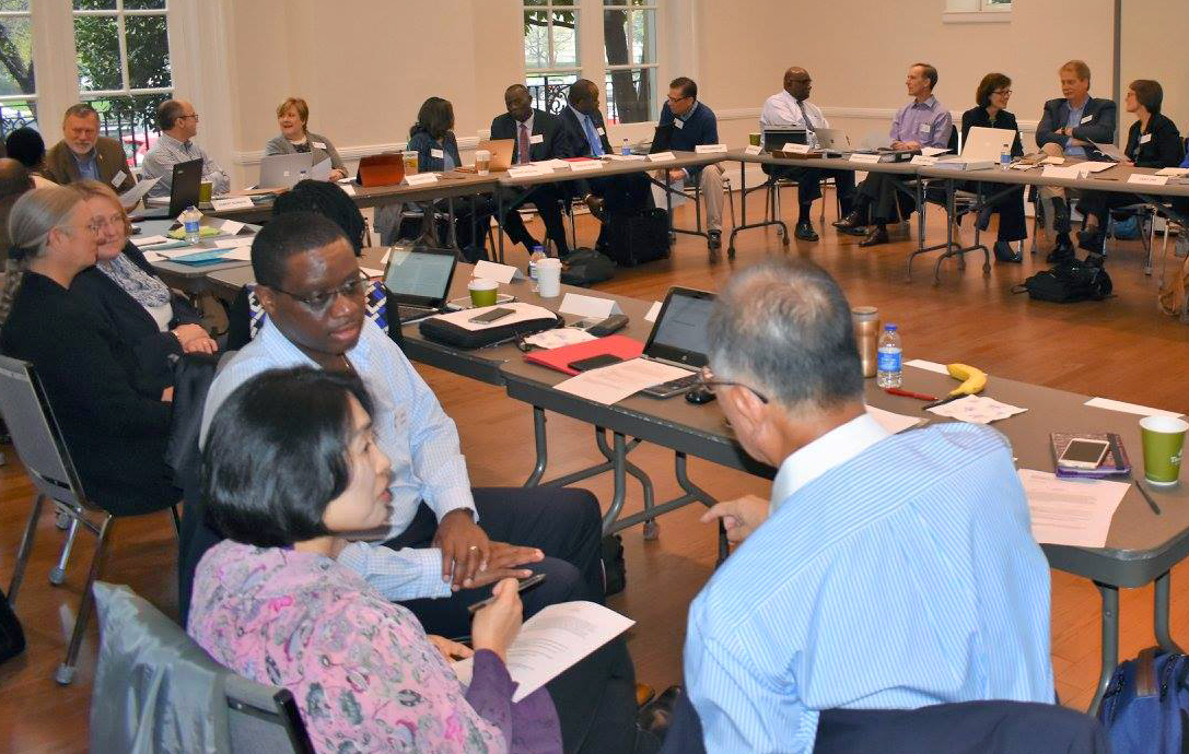 Members of the Commission on a Way Forward meet in small groups during their April 6-8 meeting in Washington, D.C. Photo by Maidstone Mulenga, Council of Bishops.