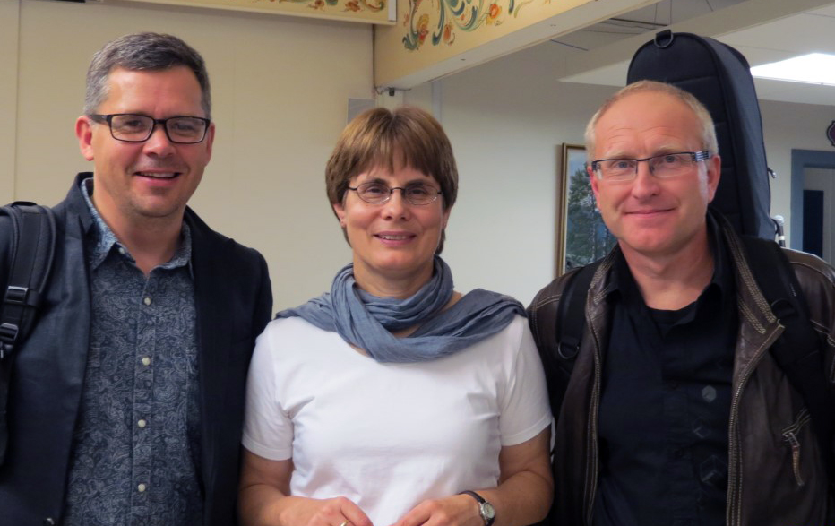 The Rev. Kristin Sundt poses with two Norwegian performers in Fellowship Hall at Mindekirken, the Norwegian Lutheran Memorial Church in Minneapolis. Sundt is a Norwegian United Methodist elder who is now pastor of the Lutheran congregation. Photo courtesy of Kristin Sundt.