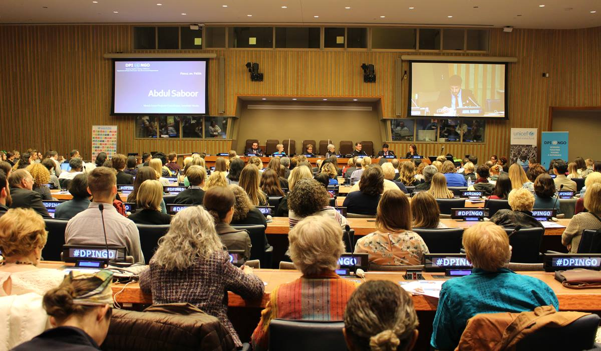 A panel discussion at U.N. headquarters focuses on the role of faith-based organizations in refugee resettlement work. The panel was part of the Focus on Faith series of the U.N.'s Department of Public Information- Non-Governmental Organizations, and organized in partnership with LDS Charities. Photo courtesy of Ryan John Koch, LDS New York Office of Public and International Affairs.