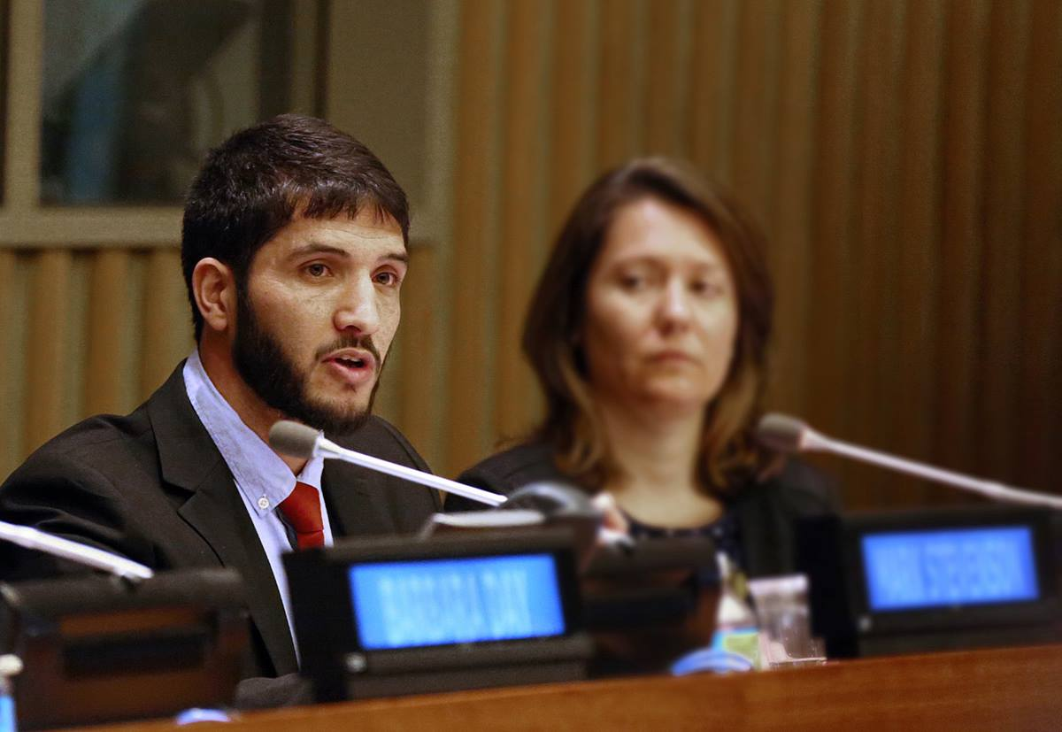 Abdul Saboor speaks about his journey as a refugee to the United States from Afghanistan during a panel discussion at U.N. headquarters on faith-based organizations in refugee resettlement work. Saboor is now a match grant coordinator at Interfaith Works in Syracuse, N.Y. Photo by Mark Dransfield, LDS New York Office of Public and International Affairs.