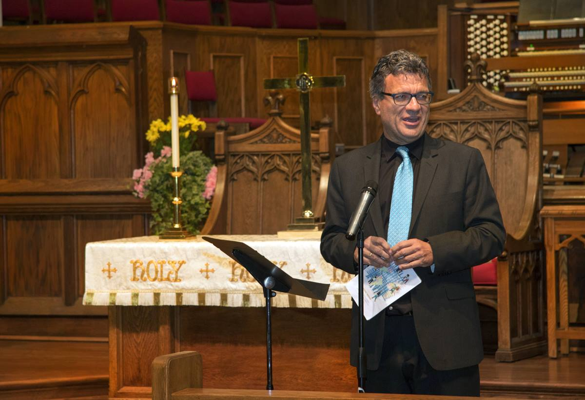 Thomas Kemper, top executive of the United Methodist Board of Global Ministries, speaks during the opening worship service of the board's 2017 spring meeting in Atlanta. Photo by Cindy Mack, GBGM.