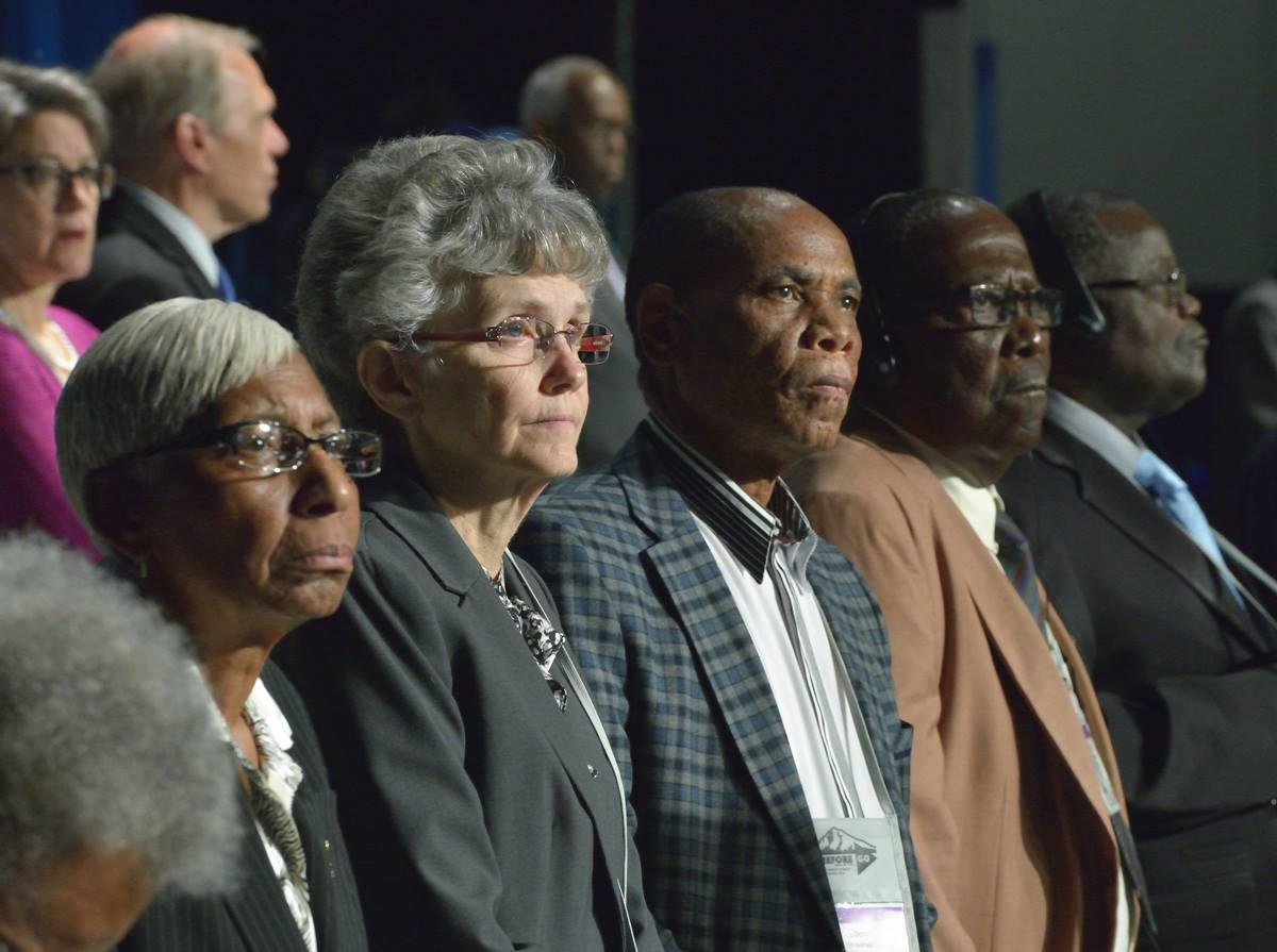 Members of the Council of Bishops listen as Bishop Bruce R. Ough reads a statement about sexuality and the church from the Council at the 2016 United Methodist General Conference in Portland, Ore. The Council of Bishops has called a special General Conference on Feb. 23-26, 2019 to take up bishops' proposals related to church unity and homosexuality. File photo by Paul Jeffrey, UMNS.