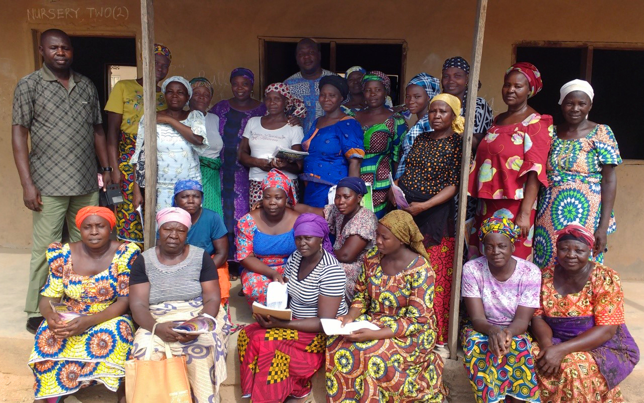 Students and teachers from McBride Literacy School in Jalingo, Nigeria, stand outside a primary school building near McBride Charge church where classes are currently being held. The school has been registered with the government education agency which has certified the school and provided textbooks. Photo by Sharon Adamu Bambuka, UMNS.
