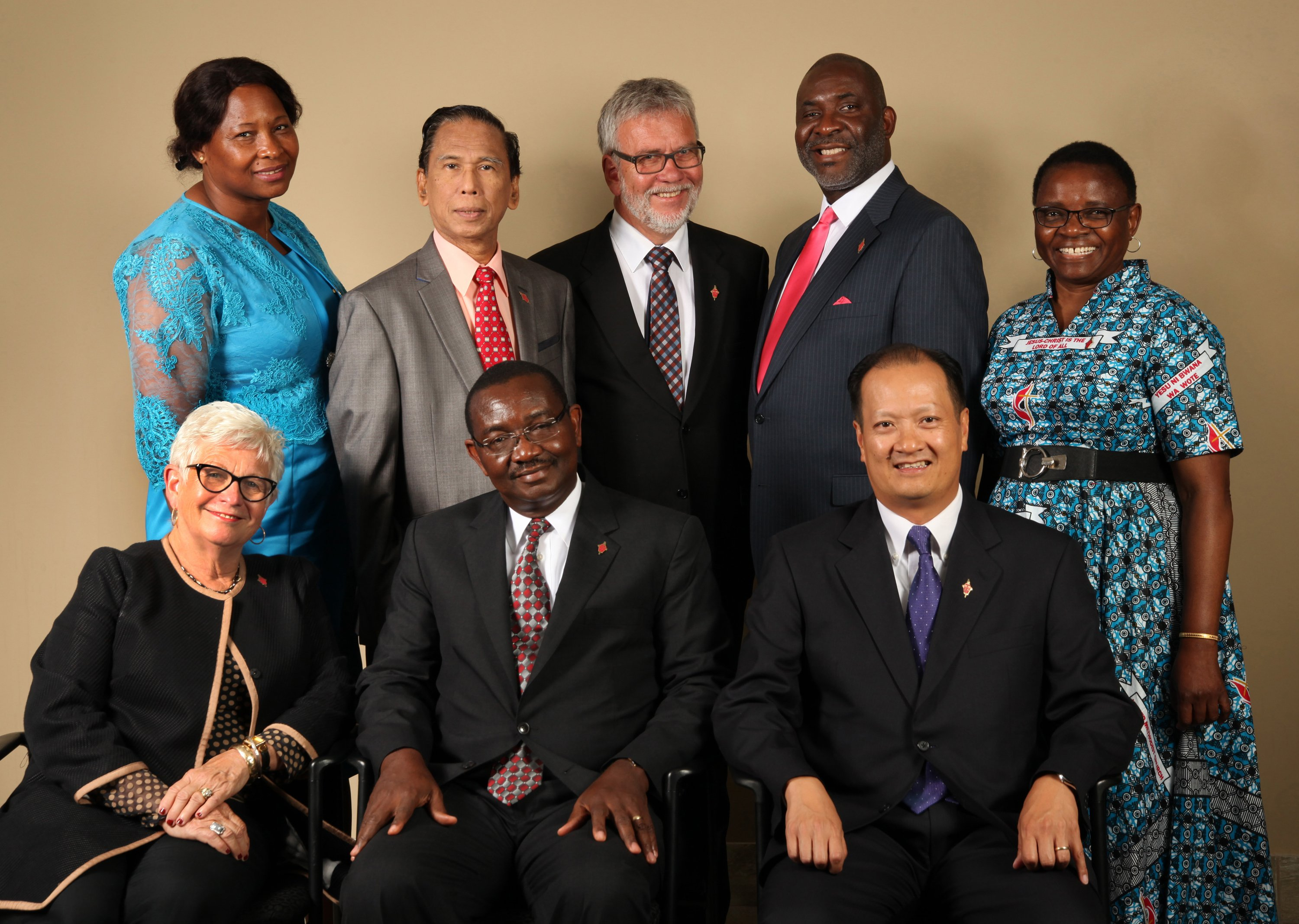 Members of the 2016-2020 Judicial Council. (From left) Front row: Deanell Reece Tacha, N. Oswald Tweh Sr., the Rev. Luan-Vu Tran. Back row: Lydia Romão Gulele, Ruben T. Reyes, the Rev. Øyvind Helliesen, the Rev. Dennis Blackwell, and the Rev. J. Kabamba Kiboko. (Not pictured, Beth Capen)  Photo by Kathleen Barry, United Methodist Communications
