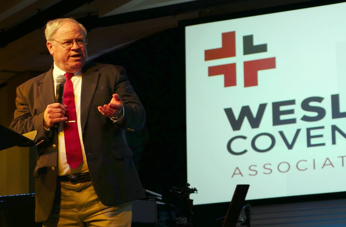 The Rev. Keith Boyette discusses recent Judicial Council rulings and challenges facing The United Methodist Church during the April 28-29 gathering of the Wesleyan Covenant Association. Boyette, newly named president of the association, argued a case before the denomination's top court earlier in the week.