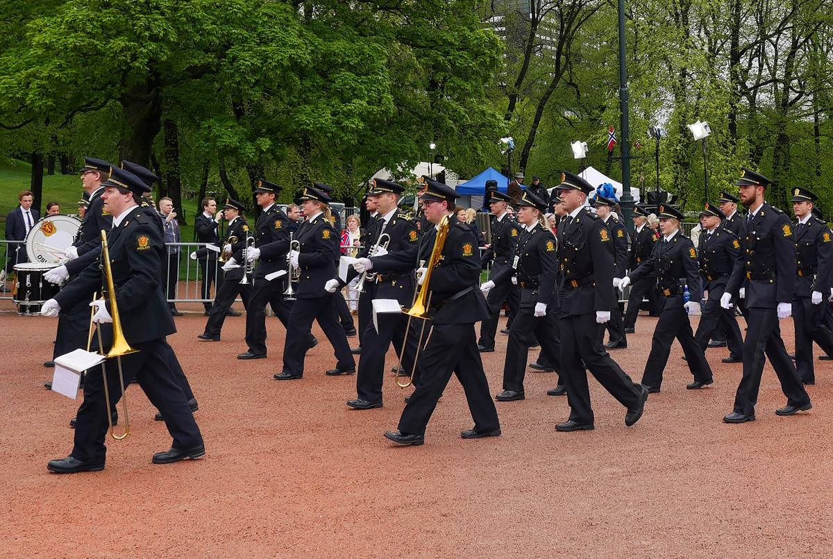 A marching band starts the parade of children during National Day celebration on May 17 in Oslo, Norway. On May 17, the country celebrates the signing of its constitution in 1814.