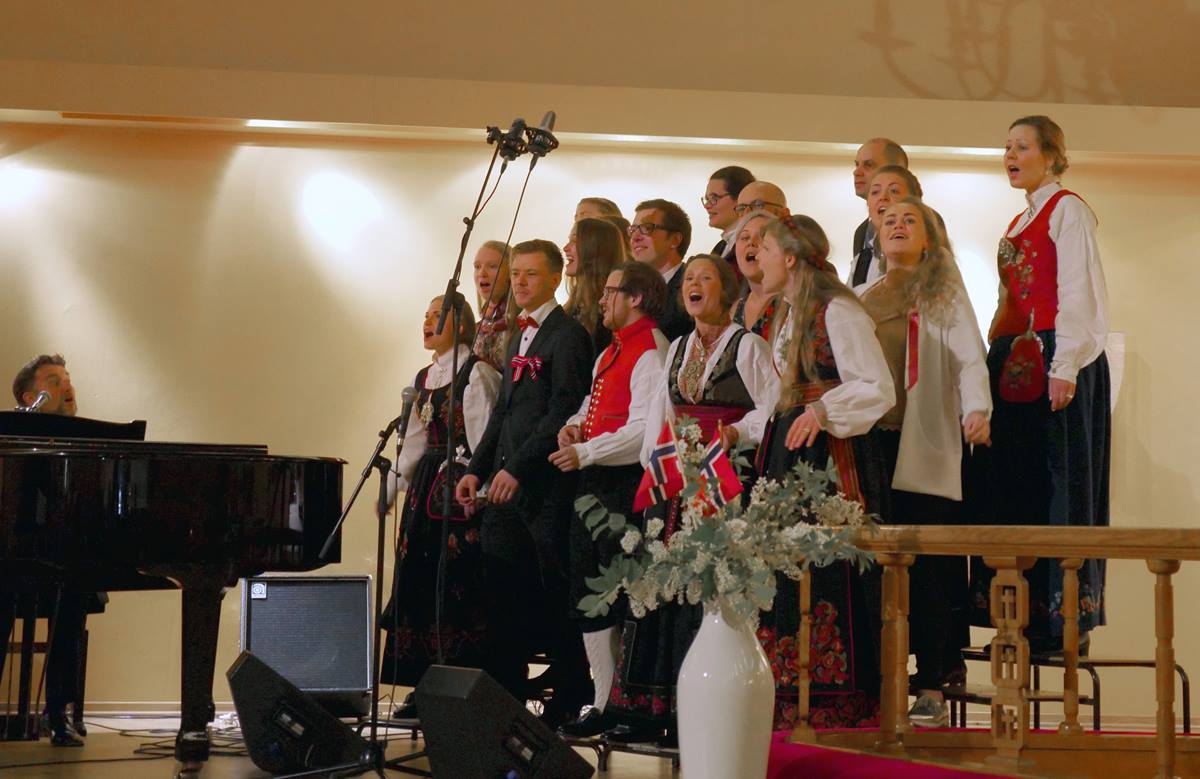 "Signatur Gospel Choir, whose members come from United Methodist churches in Oslo, Norway, sing ""Joyful, Joyful, We Adore Thee"" at Centralkirken, a United Methodist church. The service was part of Norway's National Day celebration on May 17."
