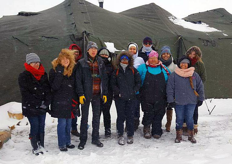 A group of students and faculty from three Oklahoma universities spent their spring break helping at one of the remaining camps at Standing Rock near Cannon Ball, North Dakota. The camp is on privately owned land. Photo by the Rev. David Wilson, UMNS.