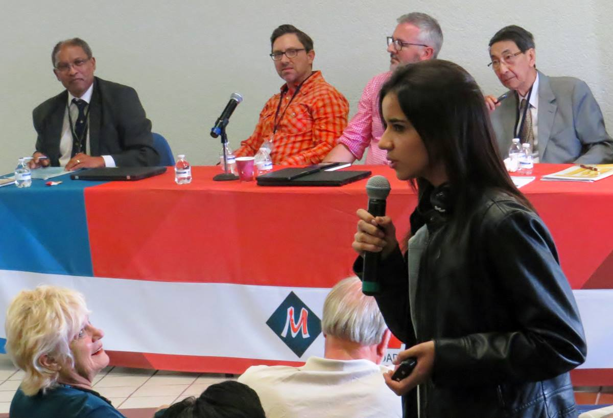 """Karine Florenico of Brazil makes a point during a May 30 panel discussion titled """"Education for Human Dignity,"""" part of the International Association of Schools, Colleges and Universities conference in Puebla, Mexico. Photo by Sam Hodges, UMNS."""