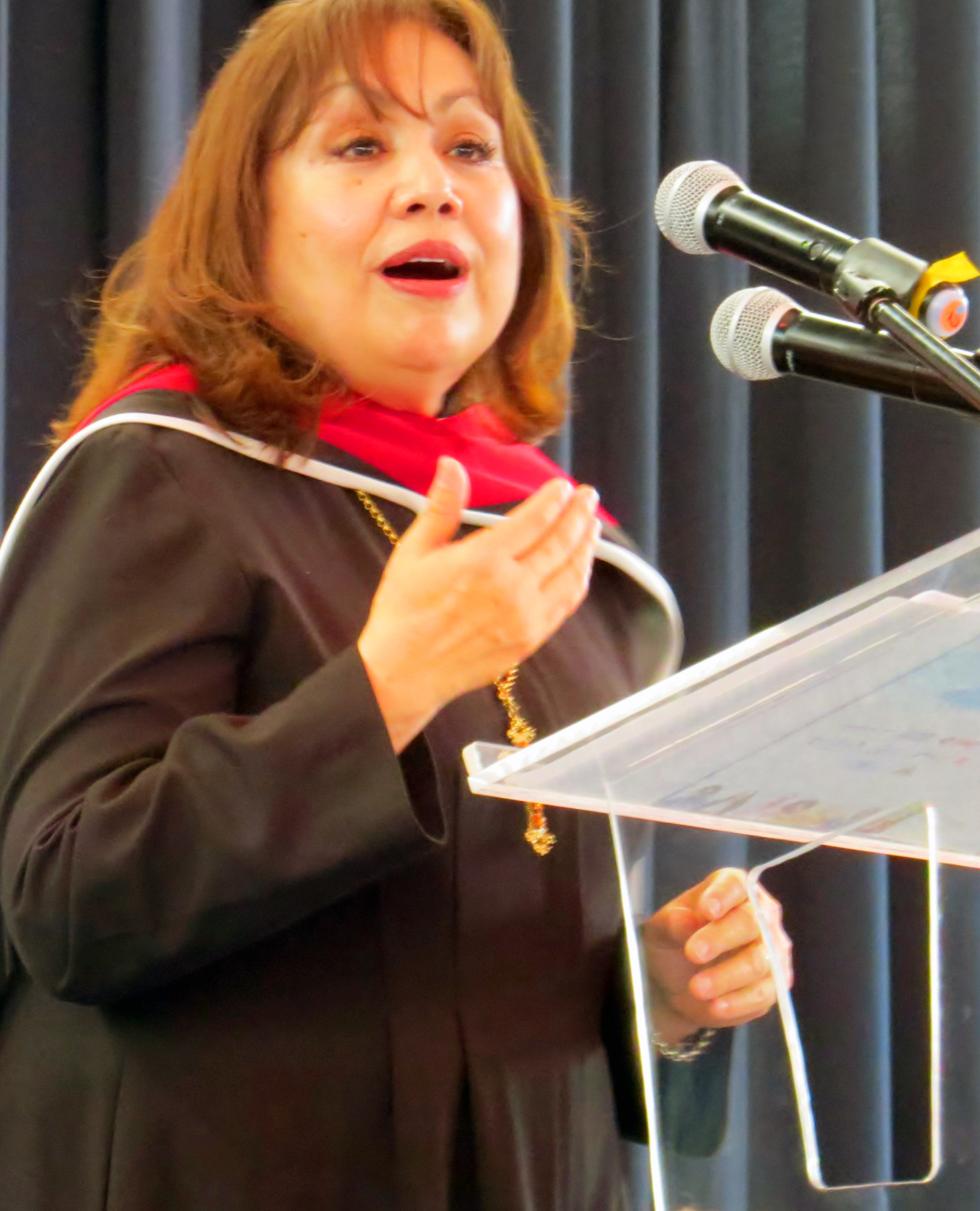 United Methodist Bishop Minerva Carcaño gives the May 28 keynote address for the International Association of Methodist-related Schools, Colleges and Universities conference in Puebla, Mexico. Her speech challenging Christians to be more active on immigration issues drew coverage in the Puebla press. Photo by Sam Hodges, UMNS.
