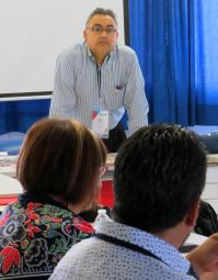 The Rev. David Martinez of the United Methodist Board of Higher Education and Ministry guides a May 28 discussion by leaders of Latin American Methodist theology schools. The group met as part of the International Association of Methodist-related Schools, Colleges and Universities conference in Puebla, Mexico. Photo by Sam Hodges, UMNS.