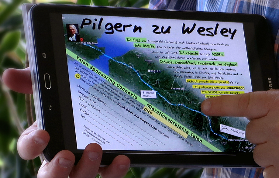 A close up of Jörg Niederer's tablet shows his trek across Europe. Photo courtesy of Jörg Niederer.