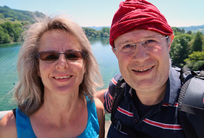 Jörg Niederer stands with his wife, Sabine Möckli Niederer, at a point over the river Rhein near the historic city Stein am Rhein, Switzerland Photo courtesy of Jörg Niederer.