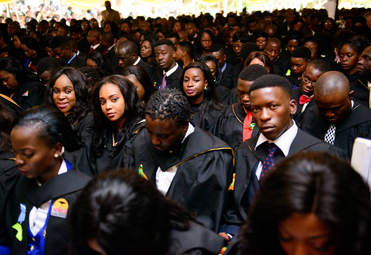 Billy Paul Muderere (right, looking at camera), Munyaradzi Mushaba (second from right, looking down), Gamuchirai Ruvimbo Mushambi (third from right) and Nancy Mutsvairo (fourth from right) are graduates from the Bachelor of Social Sciences in Psychology 2017 honors class at Africa University. Photo courtesy of Africa University.