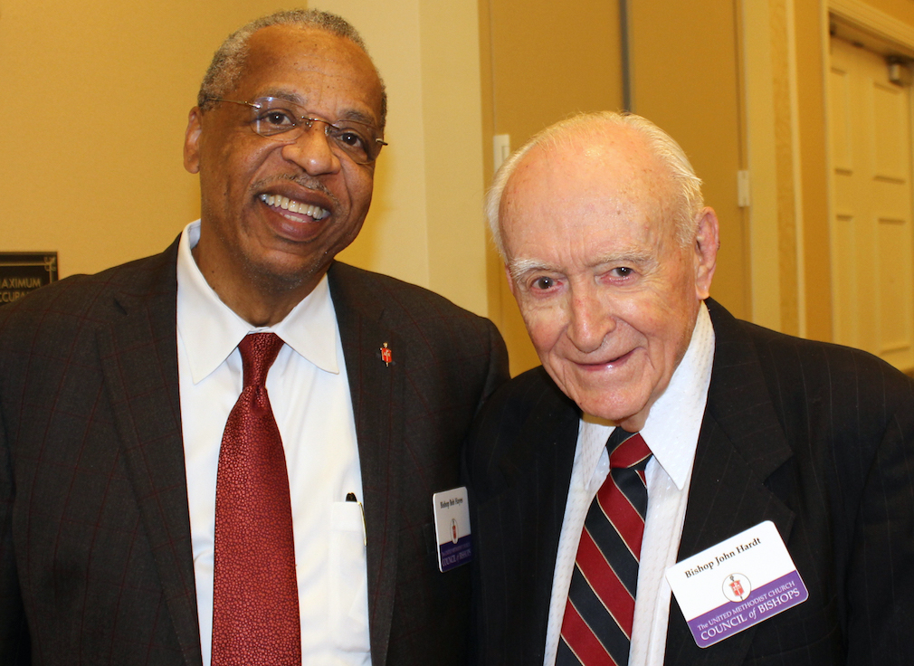 Bishop John Wesley Hardt (right) stands with Bishop Robert Hayes at the 2014 Council of Bishops session in Oklahoma City. Photo by Holly McCray, the Oklahoma Conference.