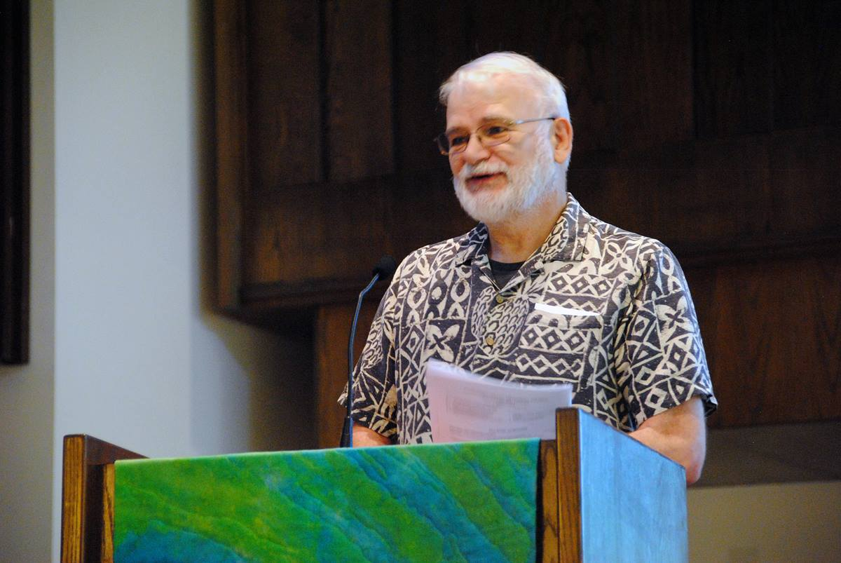 "The Rev. James Dwyer reports June 18 to Claremont United Methodist Church, in Claremont, Calif., on the recent California-Pacific Conference gathering. The conference approved Dwyer's motion asking the Judicial Council for a declaratory decision on the constitutionality of church law and Social Principles language stating that the practice of homosexuality is ""incompatible with Christian teaching."" Photo by Terry Givens."