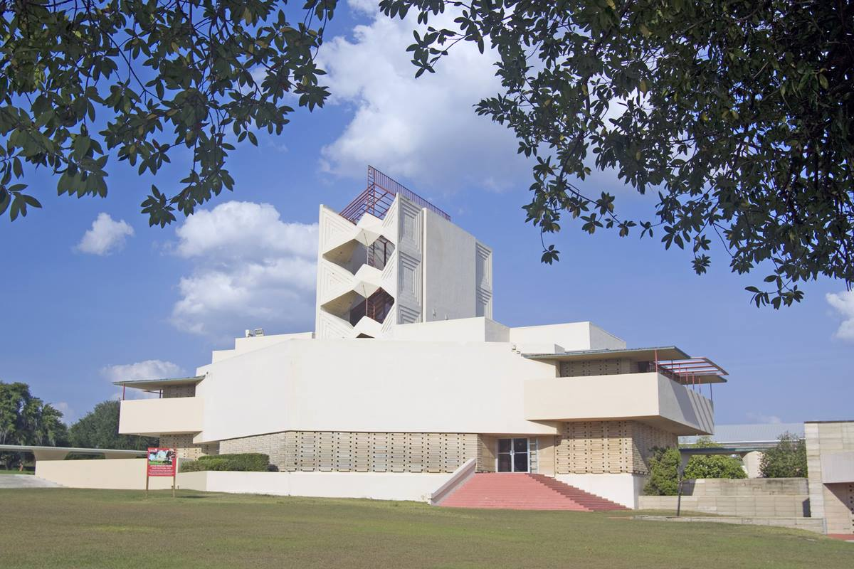 Annie Pfeiffer Chapel is one of 12 structures designed by American architect Frank Lloyd Wright for the campus of Southern Florida College in Lakeland, Florida. Wright agreed to create a master plan for the campus and to design 18 buildings. Ultimately, the college completed 12 structures. It still owns all the designs. Photo courtesy of Florida Southern College.