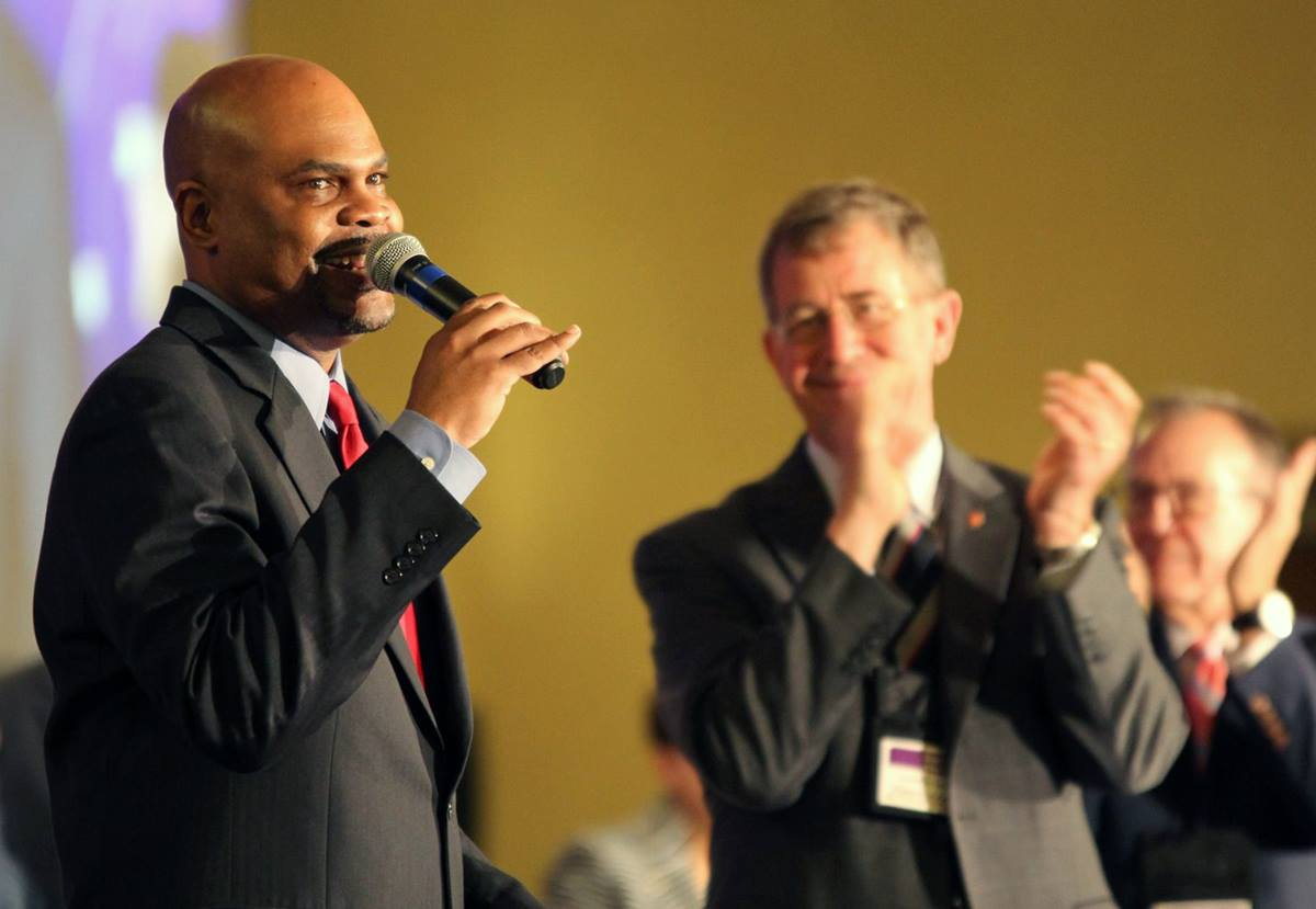"""The Rev. Junius Dotson has been speaking at annual conferences this summer, introducing the """"See All the People"""" initiative of Discipleship Ministries, the agency he leads. Here he was speaking to last summer's  South Central Jurisdictional Conference, which met in Wichita, Kansas. Photo by Todd Seifert."""