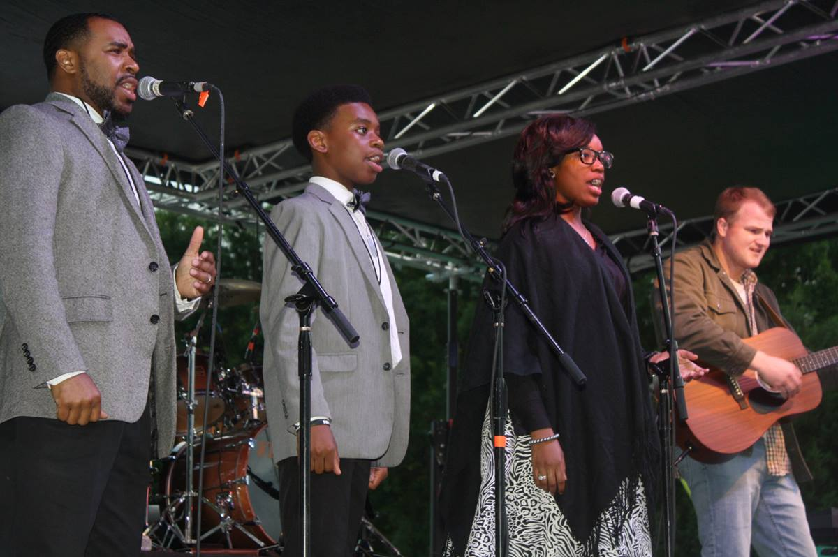 Musicians perform at Revival on the River 2017 in Greenwood, Mississippi. The worship event, which featured praise bands and family gospel groups from area churches, was started by teenager Ethan Oltremari to help with racial reconciliation and break down denominational barriers. Photo courtesy of Revival on the River, Greenwood.