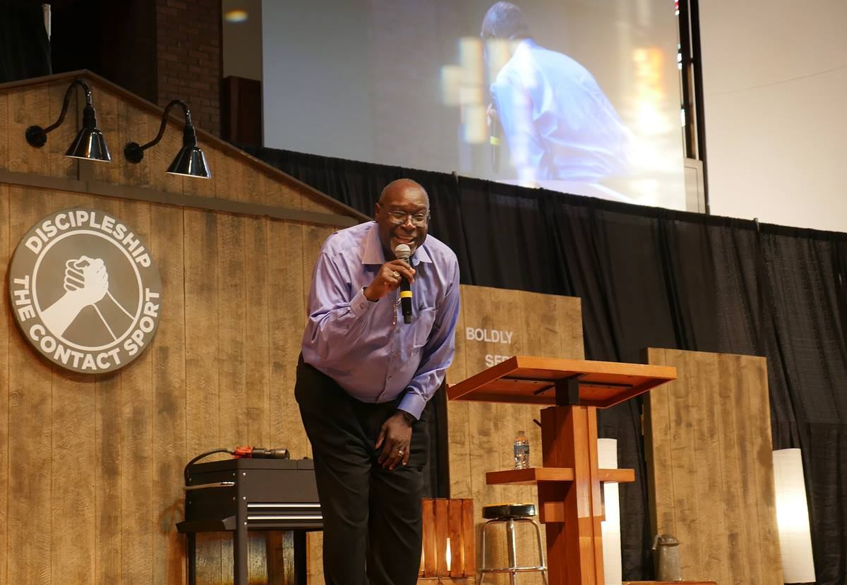 Bishop James Swanson Sr., president of United Methodist Men, preaches on God's call to discipleship at the opening service of the United Methodist Men's National Gathering at St. Luke's United Methodist Church in Indianapolis. Photo by Heather Hahn, UMNS.
