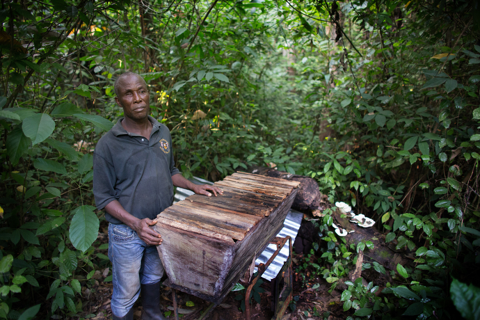 The Rev. Joe Gatei displays one of the beehives he keeps near Ganta, Liberia, to supplement his income as a pastor. Photo by Mike DuBose, UMNS.