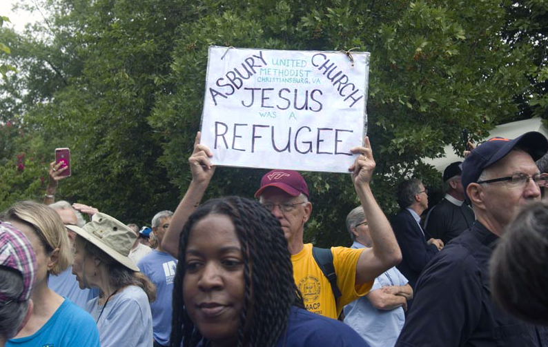 United Methodists were among demonstrators from 14 states who joined in the anti-racism protests in Charlottesville, Virginia. The march turned deadly when a car rammed through a group protesters who were there to counter the Aug. 12 march by white nationalists fighting the moving of a Confederate statue. Photo: © Richard Lord.