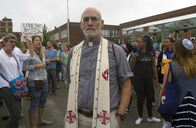 The Rev. John D. Copenhaver, a retired pastor, drove 140 miles from Winchester, Va., to attend an interfaith worship service and anti-racism protests in Charlottesville. Photo: © Richard Lord.