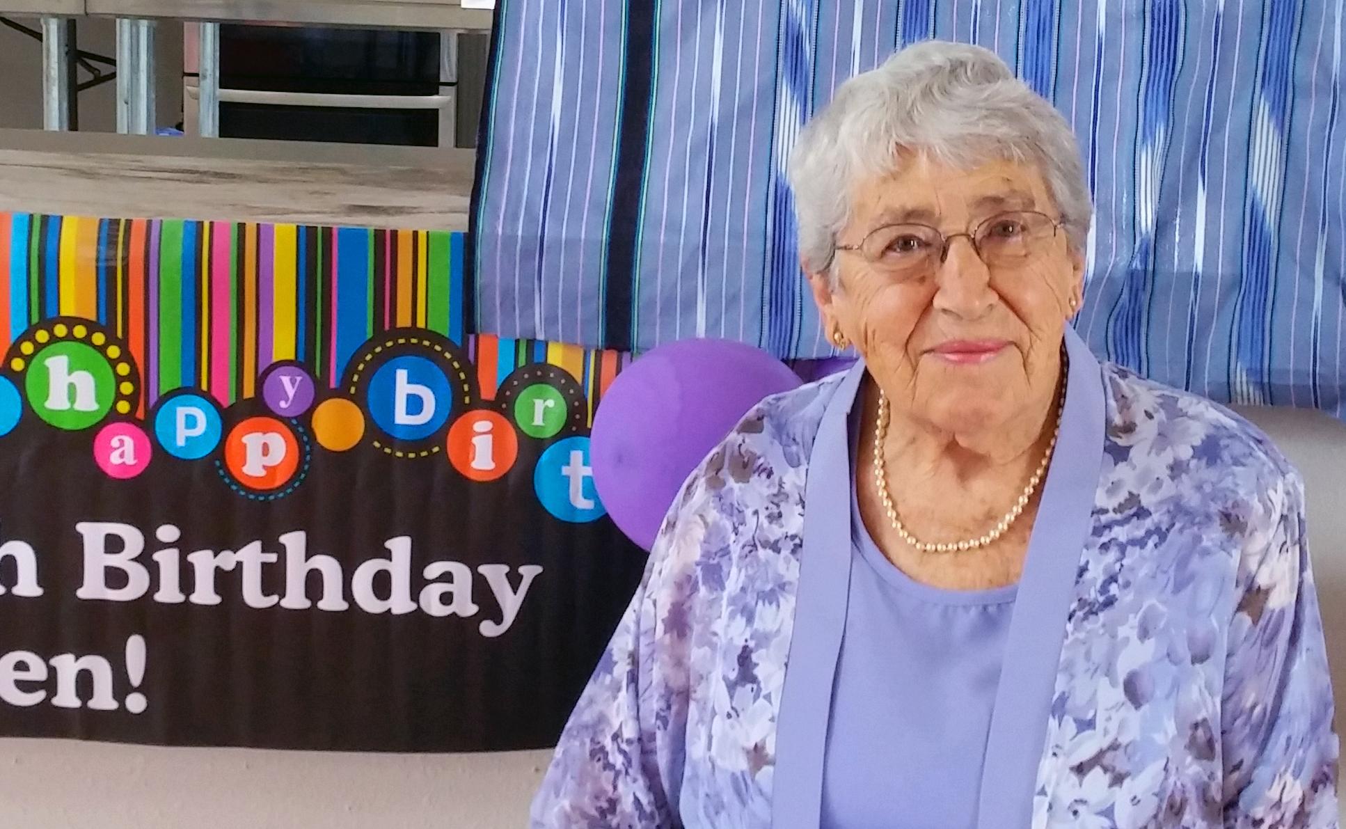 Helen Dawley celebrates her 90th birthday at Rhems United Methodist Church. In 2004, she persuaded the congregation's United Methodist Women to help sponsor refugees. Photo courtesy of Rhems United Methodist Church