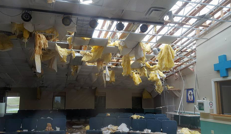 The Island in the Son United Methodist Church in Corpus Christ, Texas, was badly damaged by Hurricane Harvey. The Rio Texas Conference hopes to get emergency response teams to the Corpus Christi area by Aug. 29. Photo courtesy the Rio Texas Conference.