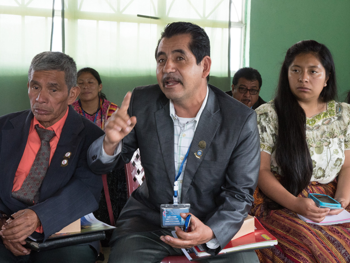 (From left, first row) The Rev. Ingrid Cac, Rev. Alejo Avila, and Ingrid Tixal, gathered at Iglesia Nacional Methodista Fuente De Vida, Guatemala, to speak to U.S. United Methodist bishops and church leaders about their ministry in Guatemala.
