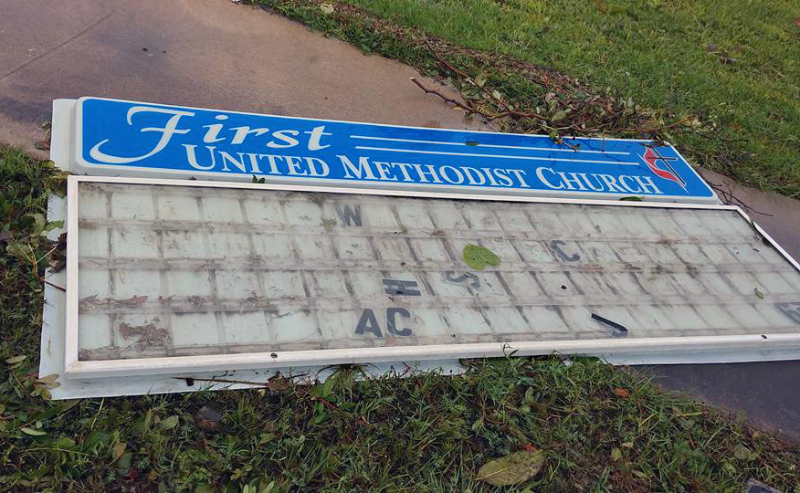 A fallen sign at the First United Methodist Church in Aransas Pass, Texas, on the Gulf Coast, indicated the force of winds from Hurricane Harvey, which hit the Gulf Coast town on Aug. 25. Photo courtesy Rio Texas Conference.