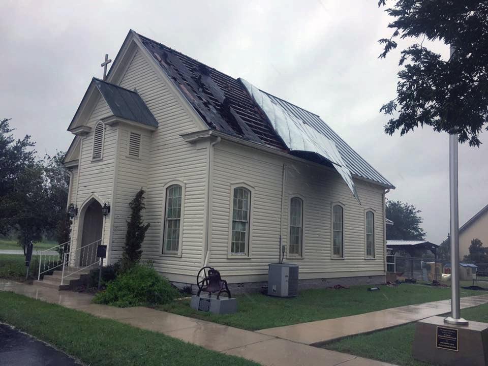 The La Vernia United Methodist Church, in La Vernia, Texas, had roof damage from Hurricane Harvey as it clobbered the upper Texas Gulf Coast on Aug. 25-26. Photo courtesy Rio Texas Conference.