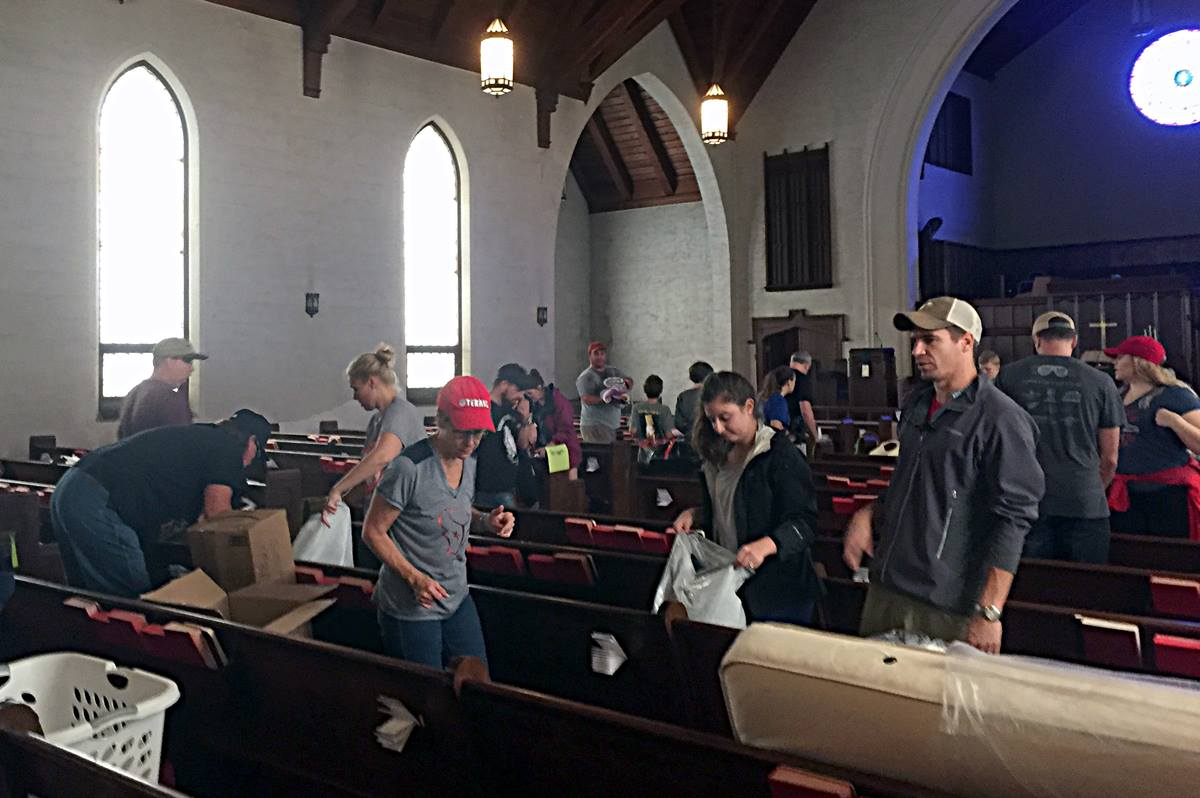 St. Mark's United Methodist Church in Houston turned into a busy distribution center for food, bedding, toiletries and other supplies donated as part of the relief effort for Tropical Storm Harvey. The church itself had minor flood damage. Photo courtesy the Rev. Emily Chapman.