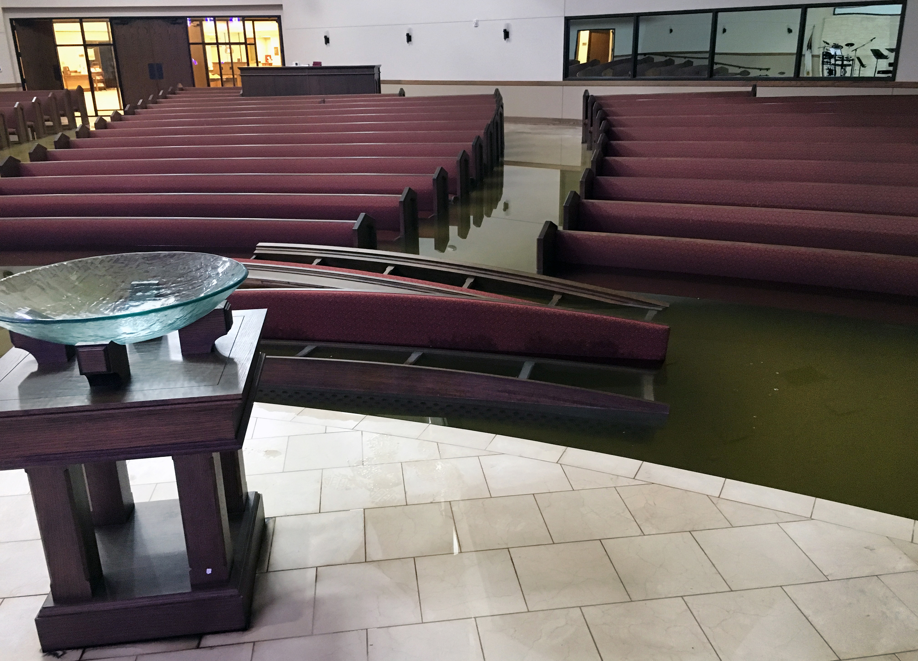 The First United Methodist Church in Dickinson, Texas, had its sanctuary flooded by Tropical Story Harvey. Photo by the Rev. Jack Matkin.
