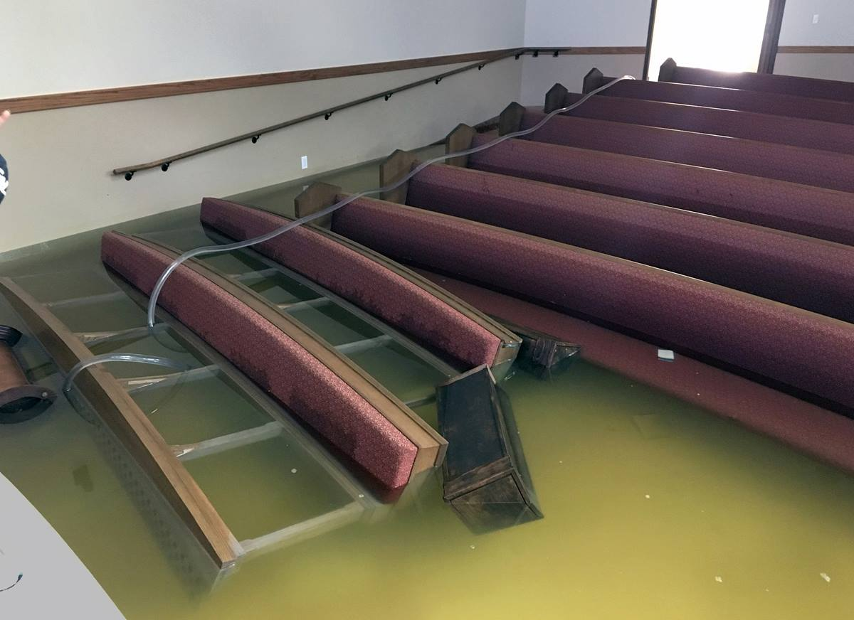 Dickinson, Texas, between Houston and Galveston, was particularly hard hit by flooding from Tropical Storm Harvey, and the First United Methodist Church of Dickinson did not escape. Photo by the Rev. Jack Matkin.