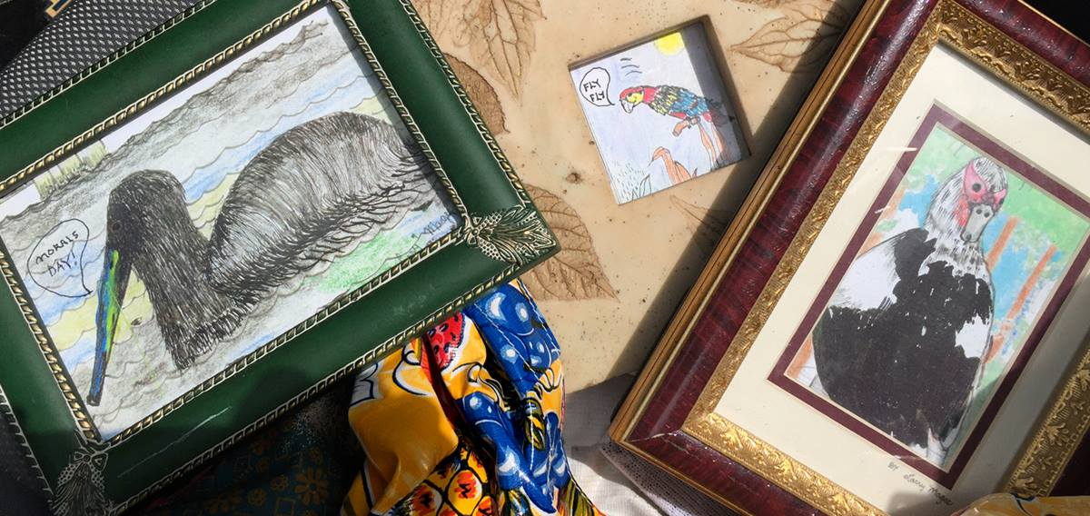 Larry Magee, who is a homeless artist, asked the Rev. Vicki Walker of Hyde Park United Methodist Church in Tampa, Fla., to keep safe paintings he had created during Hurricane Irma. She did. Photo courtesy of the Rev. Vicki Walker.