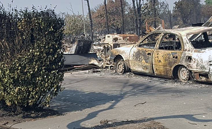 Another view of Senikau Momoka's property after wildfires swept through California on Oct. 9. Momoka, who is a member of First United Methodist Church of Santa Rosa, took shelter at the church. Photo by Kelly Vaughn, courtesy of First United Methodist Church.