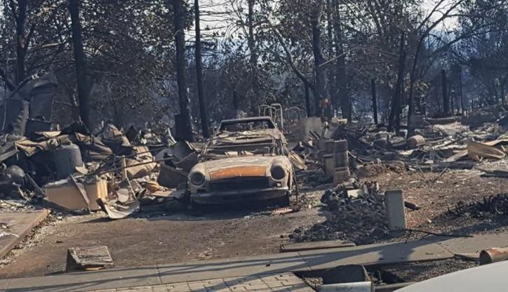 A view of Senikau Momoka's house shows the extent of damage to her property after wildfires swept through California on Oct. 9. Momoka is a member of First United Methodist Church of Santa Rosa, which opened its doors to people left homeless after the blaze. Photo by Kelly Vaughn, courtesy of First United Methodist Church.