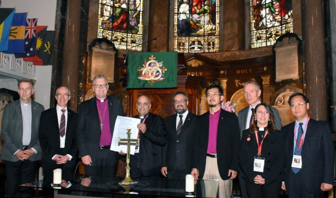In a ceremony in Wesley's Chapel, London, on Sept. 10, the leaders of the member churches of the European Methodist Council signed a Community Agreement. The agreement expresses the commitment of the individual churches to join together to fulfill the purpose of the European Methodist Council to enable a stronger Methodist witness in Europe. Photo by Üllas Tankler, courtesy of the General Board of Global Ministries.