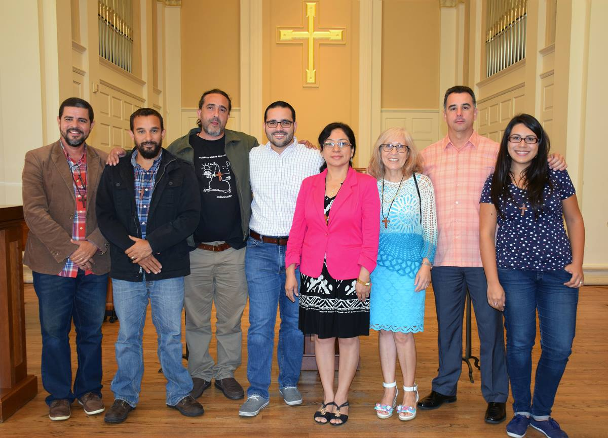 Students in the Perkins School of Theology Th.M. program in Spanish led worship in Perkins Chapel on Oct. 12. Perkins, part of Dallas' Southern Methodist University, is the first United Methodist seminary to offer an advanced theology degree in Spanish. Photo by Connie Nelson.