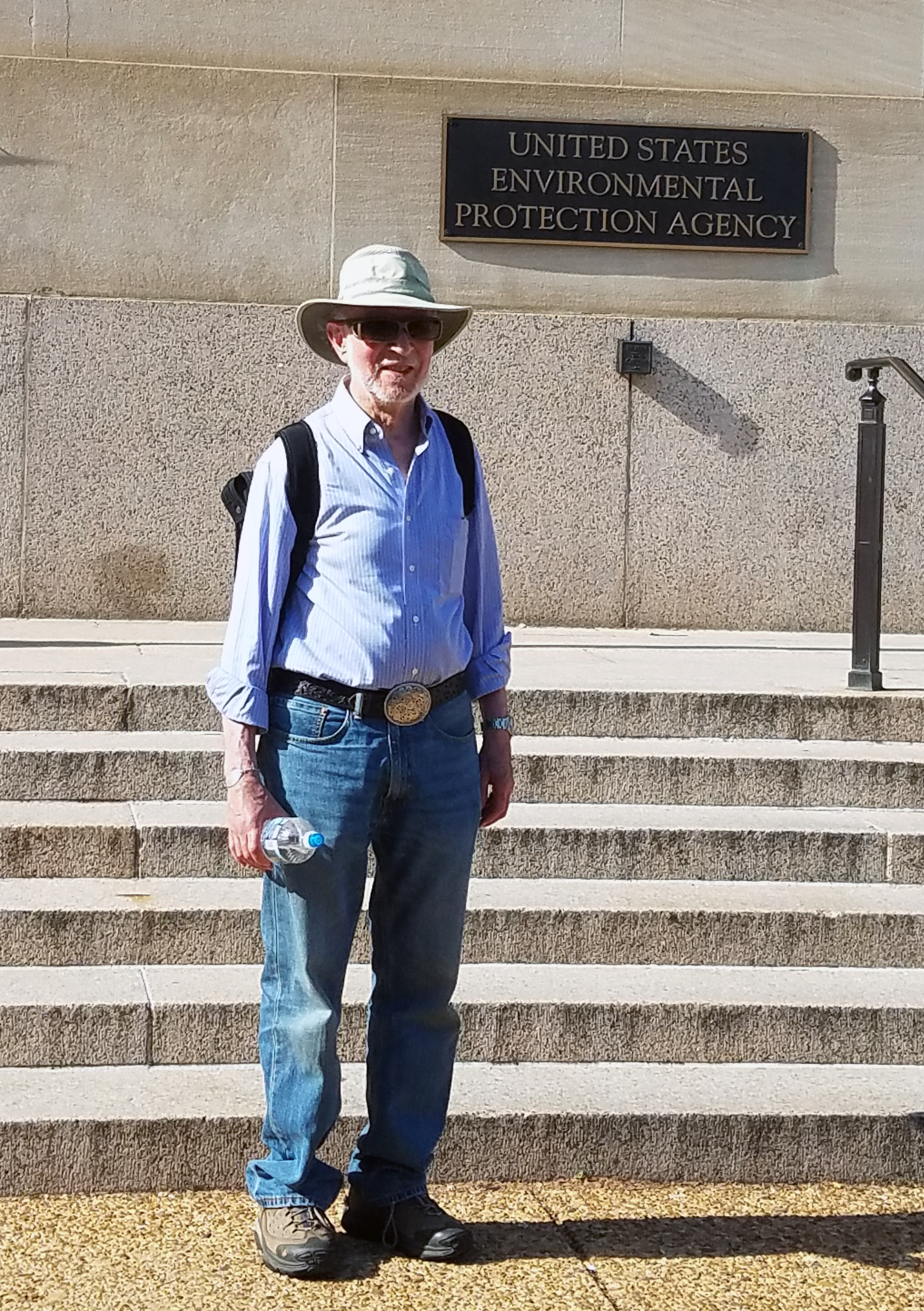 Stephen A. Jurovics stopped outside the Environmental Protection Agency offices while in Washington in April to participate in the Peoples Climate March. He is advocating for a faith-based environmental rights movement similar to the civil rights movement. Photo courtesy of Stephen Jurovics.