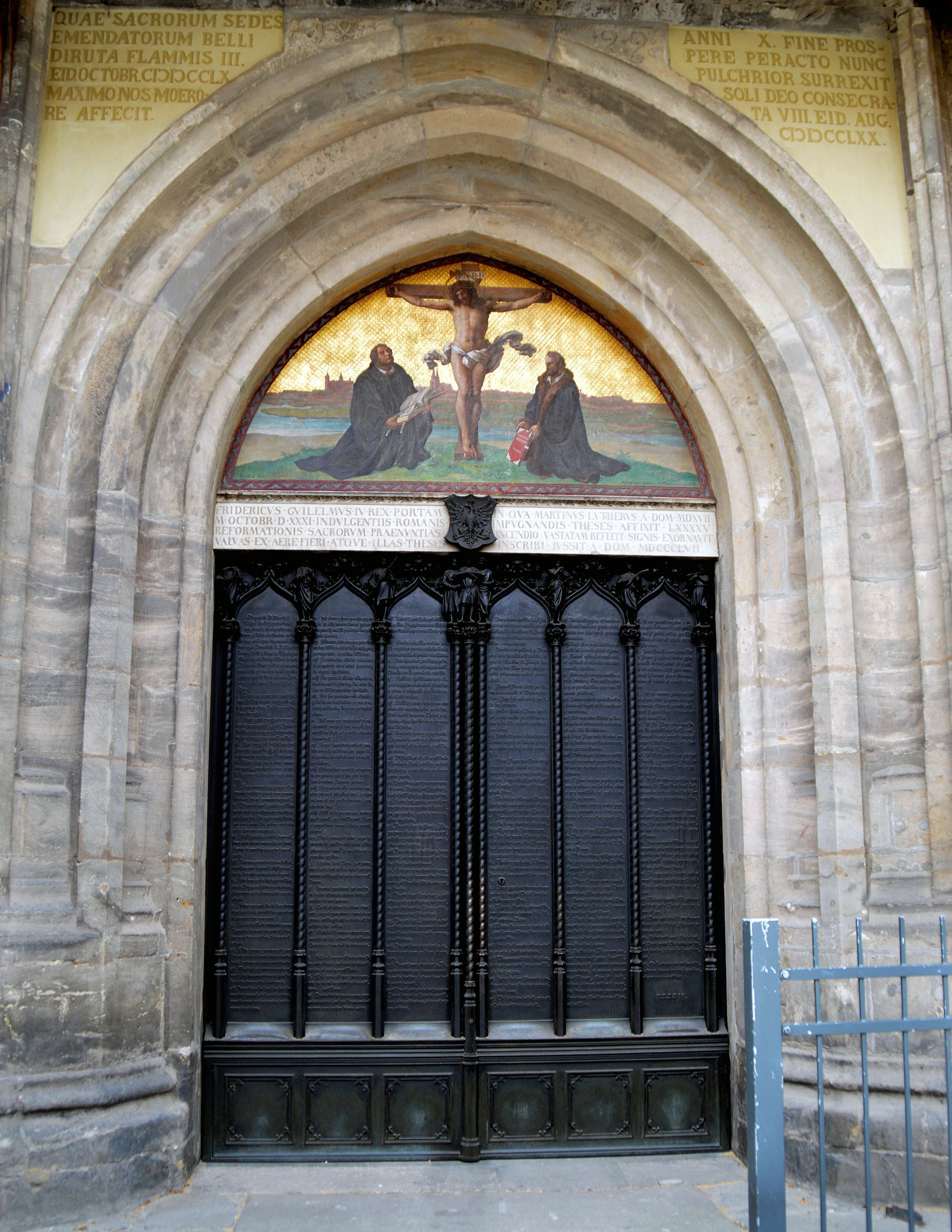 The door at Wittenberg's Castle Church where Martin Luther reportedly posted his 95 Theses on Oct. 31, 1517, launching the Protestant Reformation. There has been some debate about whether he actually posted it on the church door. But many trust the account because at the time, the door served as a sort of university bulletin board. Today, his theses are engraved in the door. Photo by Klaus Ulrich Ruof.