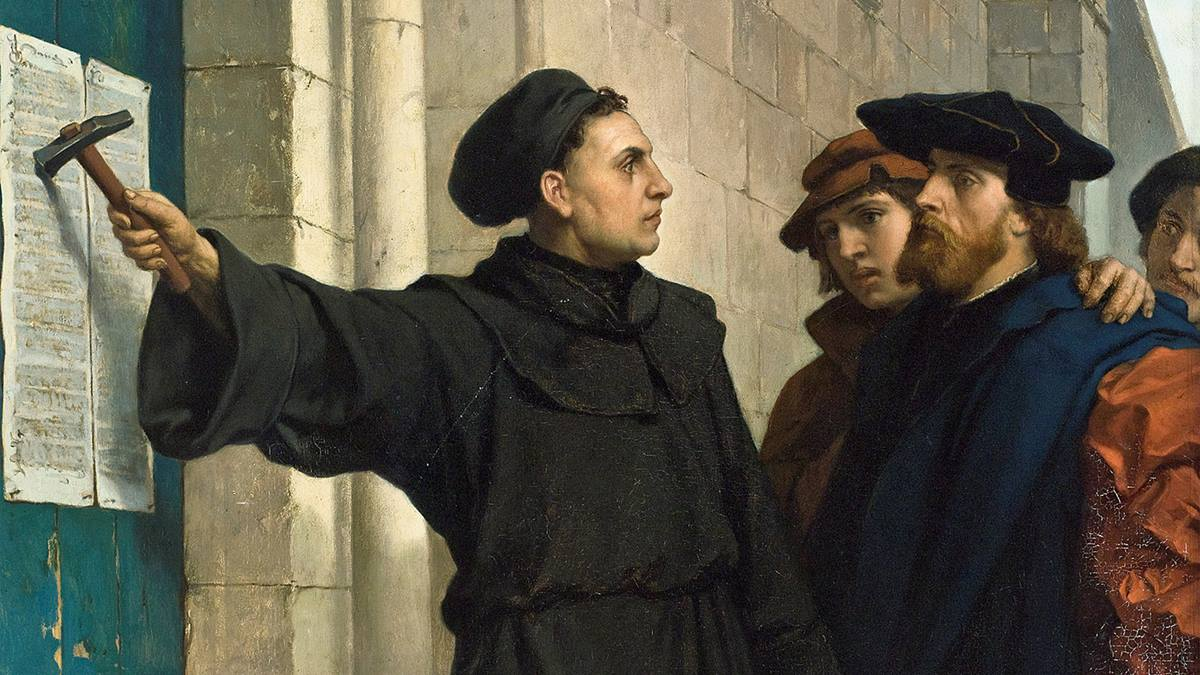Martin Luther nails The 95 Theses or Disputation on the Power of Indulgences, a list of propositions for an academic disputation, on Oct. 31, 1517. What he intended to spark debate changed the world. Painting by Ferdinand Pauwels (1830-1904), public domain, courtesy of Wikimedia Commons.