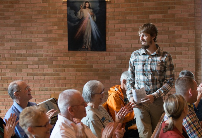 The Rev. Matt Hall is welcomed to First United Methodist Church in Pearisburg, Va. The church, located just off the AT, is where Hall preached his first sermon and helps support the chaplain's ministry.
