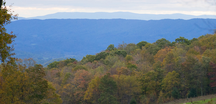 """The Appalachian Trail overlooks the Shenandoah Valley near Pearisburg, Va. """"The church is God's house, but the A.T. is God's masterpiece,"""" said Nick Houle."""