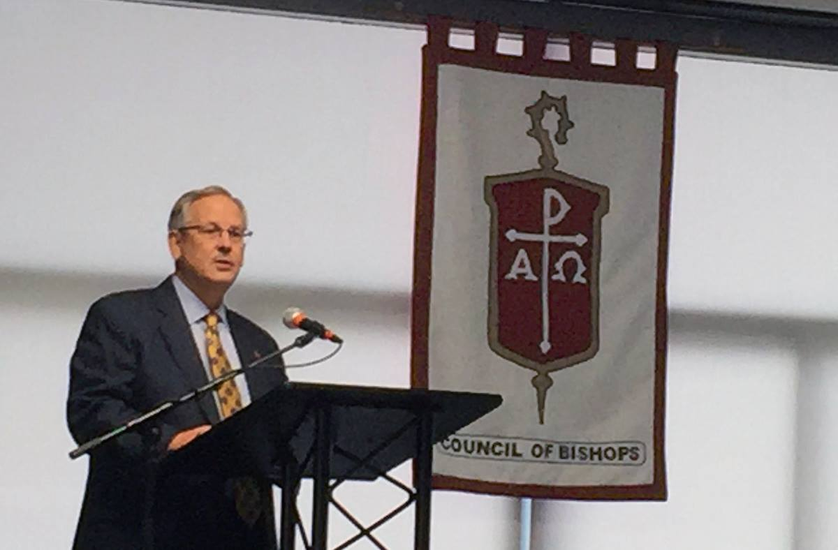 Bishop Bruce R. Ough likened bishops to explorers of old as they seek a way forward for the denomination to stay together despite deep divisions around homosexuality. Photo by Heather Hahn, UMNS.