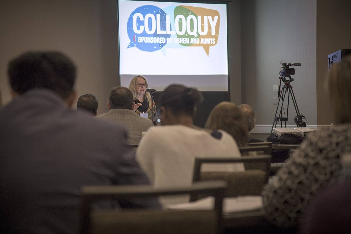 """The Rev. Elaine Heath, dean of Duke Divinity, speaks during the Nov. 12-15 colloquy titled """"Missio Dei and the United States: Toward a Faithful United Methodist Witness. The United Methodist Board of Higher Education sponsored the event, which brought together seminary professors and bishops."""