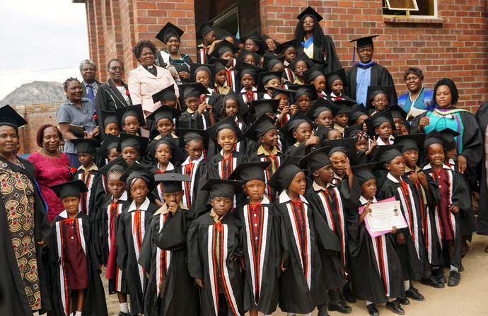 Sixty-two children graduated from a new e-learning program at Murehwa Day Care Centre in Zimbabwe. The program, sponsored by The United Methodist Church in collaboration with the Ministry of Primary and Secondary Education in Zimbabwe, aims to have computer laboratories at all United Methodist-run schools in Zimbabwe by 2025. Photo by Kudzai Chingwe, UMNS.