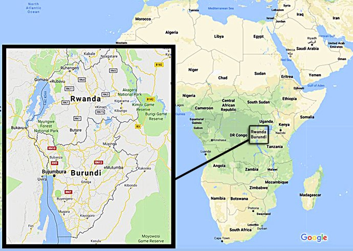 Two long-divided United Methodist groups in Burundi are joining to try to unite the church's witness. A composite of map images from Google shows the location of the east African nation, below Rwanda. Map images courtesy of Google Maps.