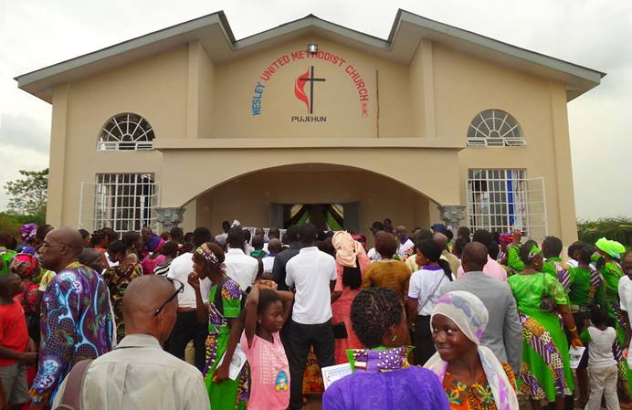 Wesley United Methodist Church in Pujehan, southern Sierra Leone, was officially unveiled on Dec. 11, 2017. The church is the first United Methodist building to be constructed in the Pujehun District. Photo by Phileas Jusu, UMNS.